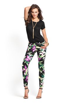 Kate Black Tropical Floral-Print Denim Leggings