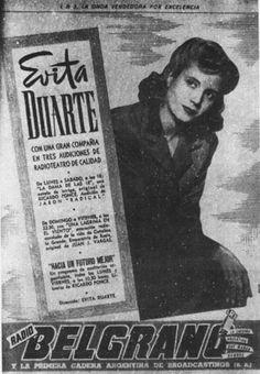 Eligió Eva Duarte como nombre artístico como se observa en esta publicidad de la compañía de radioteatros que encabezaba en radio Belgrano