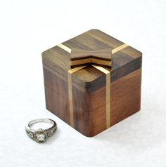 Wooden ring box with a bow for proposals with personalization Engagement ring box Wooden Ring Box, Wooden Jewelry Boxes, Wooden Rings, Small Wooden Boxes, Wood Boxes, Wood Box Design, Woodworking Box, Wedding Ring Box, Ring Verlobung