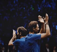 """ Fedal Laver Cup 2017 "" "" Wow, this image is like a work of art!! So beautiful and perfectly in sync!"
