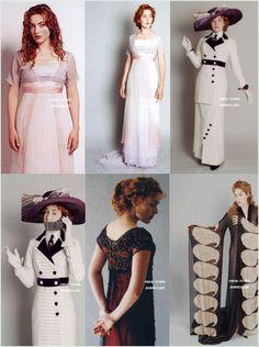 Modèle - + vidéo géniale sur la page ! :) Film Titanic, Titanic Movie Facts, Titanic Costume, Titanic Dress, Edwardian Fashion, Vintage Fashion, Titanic Kate Winslet, Style Édouardien, Vintage Dresses