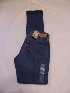Levis 524 Jean Skinny Leg Ultra Color Medium Distressed Denim 115070267 Junior #Levis #SkinnyLeg