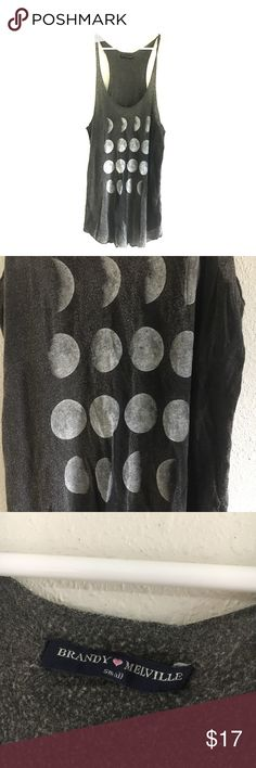 Brandy Melville phases of the moon long tank grey Size small moon phase brandy Melville racer back tank grey super soft Brandy Melville Tops Tank Tops