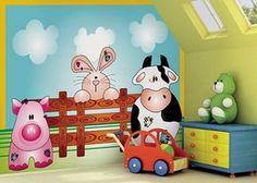 Little Ones Fotobehang Farm Animals 418041 Kids Church Decor, School Murals, Church Nursery, Farm Art, Wall Drawing, Mural Wall Art, Farm Theme, Boy Decor, School Decorations