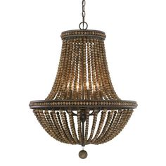 Add a touch of decadence to your foyer or living room with this lovely chandelier, featuring stained wood bead accents and a tobacco-hued finish.