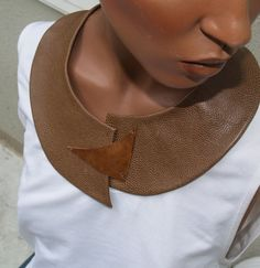 Speckled Brown Leather Bib Necklace