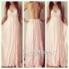 Pink Lace Chiffon Backless Long Prom Dress,Evening Dress
