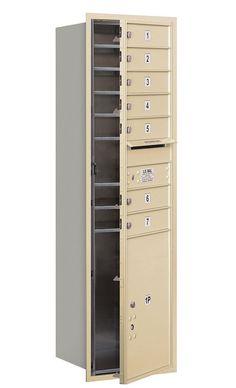 4C Horizontal Mailbox 15 Door High Unit Single Column 7 Doors and 1 Parcel Locker Front Loading USPS Access