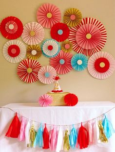 Carnival Circus Party Backdrop    Pink, Red, Blue and Gold    Paper Fan/Rosettes