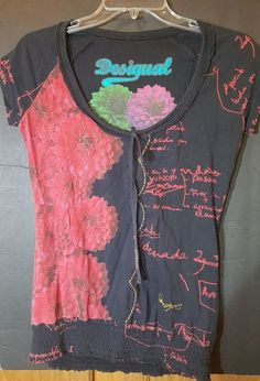 Womens Small Desigual Short Sleeve Shirt Elastic Trim Scoop Neck in Clothing, Shoes & Accessories, Women's Clothing, Tops & Blouses | eBay