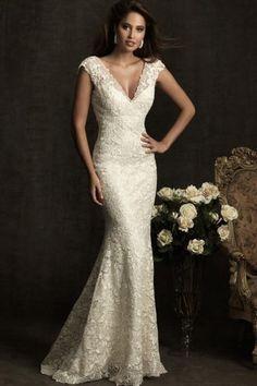 Beautiful Trumpet/Mermaid V-neck Sweep/Brush Train Lace Fabric Lace Wedding Dresses UK Lace Sash Style l150645