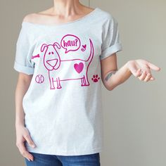 szary oversize z różowym nadrukiem psa  grey oversize #tshirt with a pink dog