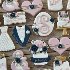 Congratulations to Mr. Wishing you love and laughter forever after. *The struggle was real as I just couldn't… Cookie Wedding Favors, Cookie Favors, Wedding Desserts, Iced Sugar Cookies, Royal Icing Cookies, Cupcake Cookies, Iced Biscuits, Cookie Designs, Cookie Ideas
