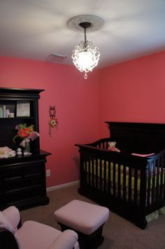 I like the dark furniture. Bright Walls, Owl Nursery, Dark Furniture, Crib Sets, Nursery Design, Future Baby, Photo Library, To My Daughter, Room Inspiration