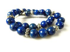 Beaded Lapis Necklace Lapis Jewelry Sterling Silver by MsBsDesigns, $236.00
