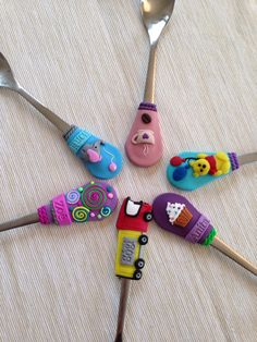 Polymer clay personalized named spoons