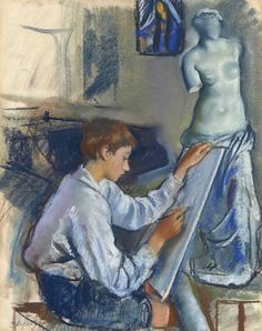 Portrait of the artist's son Alexandre sketching in the artist's studio (c.1922). Zinaida Serebriakova (Russian, 1884-1967). Pastel on paper. The portrait is imbued above all with a sense of ease, the...