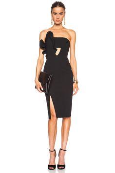 Image 1 of NICHOLAS Bonded Poly Crepe Ruffle Dress in Black