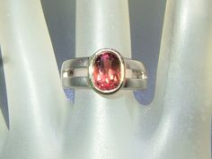 Bezel Oval 2ct Pink Tourmaline Solitaire Band Ring Sterling Silver 18kt Gold by Gemsbygigialonia on Etsy