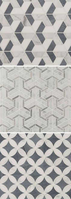 Art Deco Marble Mosaic Tile Patterns / Art Deco Collection by Claybrook Interiors / Gray and White Marble floors