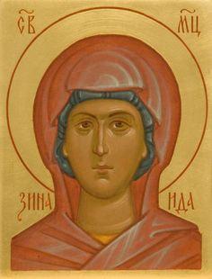 St Zenaida of Tarsus Hand Carved, Hand Painted, Religious Paintings, Catholic Art, Art Icon, Orthodox Icons, Tempera, Semi Precious Gemstones, Ikon