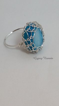 Blue Agate Druzy Sterling Silver Ring by GypsyNonnie on Etsy