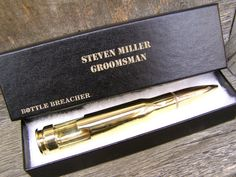 Groomsmen Gift Engraved 50 Cal Bottle Opener with Personalized Box. Groom Gift. Wedding Party Gift