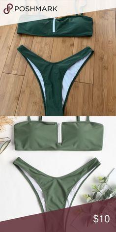 aeb27f9efdd794 Zaful green bikini fits like a size small worn once zaful forest green  bikini Swim Bikinis