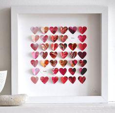 Conheça os quadros decorativos da Sara and Bendrix que utilizaram muita criatividade e simplicidade para fazer os quadros de coração que estão super em alta no mundo da decoração. Com recortes de c...