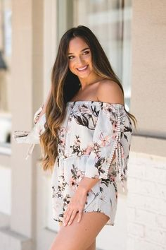 Runaway Roses Floral Romper in Grey Floral Romper, New Wardrobe, Cute Dresses, Trendy Outfits, Photography Ideas, Floral Tops, Dress Up, Roses, Women's Fashion