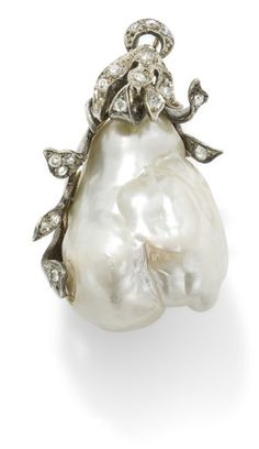 A baroque cultured pearl and diamond pendant  The baroque cultured pearl set within a scrolling circular-cut diamond-set pendant mount, leng...