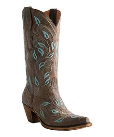 Another great find on #zulily! Chocolate Vine & Leaves Leather Cowboy Boot - Women by Lucchese #zulilyfinds