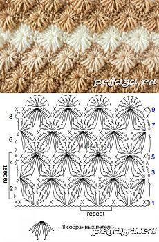 Punto hojas - Her Crochet Crochet Cap, Crochet Motifs, Crochet Stitches Patterns, Easy Crochet, Stitch Patterns, Knitting Patterns, Granny Square Häkelanleitung, Granny Square Crochet Pattern, Crochet Diagram