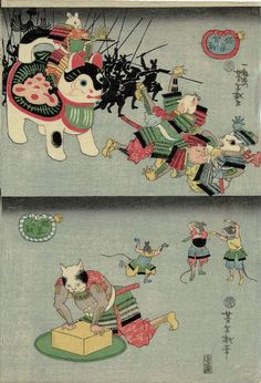 """Mouse army advances, general on a Inu hariko - Cat kneels from """"Byōso kassen / The Battle of the Cats and Mice"""" series, 1859 by Tsukioka Yoshitoshi Japan Illustration, Graphic Illustration, Japanese Cat, Vintage Japanese, Neko, Geisha, Samurai, Japan Painting, Japanese Folklore"""