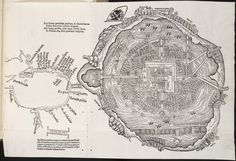 Untitled map of the Aztec city Tenochtitlan, 1524. The modern Mexico City now covers the island and the surrounding area.