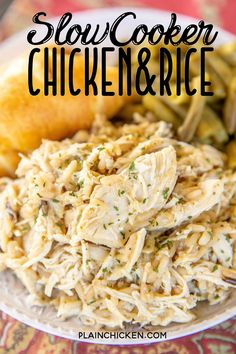 Slow Cooker Chicken and Rice recipe – only 4 ingredients! SO simple and SO delicious! Kids (and adults) gobble this up! Chicken, onion, cream of chicken soup, and long grain and wild rice. We make this at least once a month. So easy and SO delicious! Chicken And Rice Crockpot, Crockpot Dishes, Crack Chicken, Chicken Cooker, Cheesy Chicken, Crockpot Meals, Dinner Crockpot, Recipe Chicken, Keto Chicken