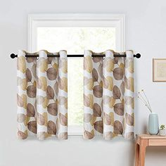 Leaves Printed Tier Curtains 36 inch Room Darkening Kitchen Tiers Bathroom Short Curtain Taupe Leaf Print Triple Weave Cafe Curtains Multi Color Basement Half Window Treatment 2 Panels Grommet Top Tier Curtains, Cafe Curtains, Country Curtains, Short Curtains, Interior Decorating, Interior Design, Room Darkening Curtains, Leaf Prints, Home