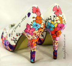 ad5e414ad1c0 Hand Painted Bespoke wedding shoes and artworks by artist Claire Jones.