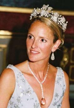Duchess Marie Caroline of Bavaria, wife of the duke of Württemberg, wearing a tiara of diamonds and pearls.