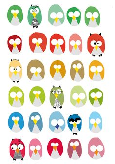 I got this from a French Kids' activities website - just thought it would be fun to play with the owls' facial expressions! lol! :) Mo