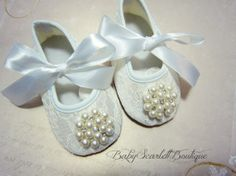 Off White Lace Baby Girl ShoesSoft Sole by babyScarlettBoutique, $15.99