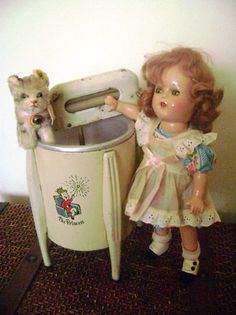 Sweet vintage doll, kitty and washer
