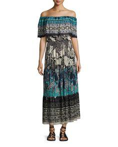 FUZZI Ruffled Off-The-Shoulder Patchwork Maxi Dress, Black Pattern. #fuzzi #cloth #