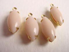 Vintage Pale Pink Glass Navettes 15x7 in Brass by brassgoldbeads