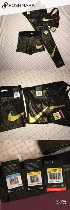 d829ff213c71 NIKE PRO GOLD 3 set NWT ankle leggings and sports bra are SMALL and the pro  shorts are a MEDIUM. Willing to separate for reasonable price.