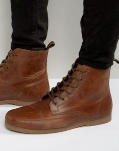ASOS Lace Up Boot In Tan Leather With Gum Sole