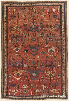 "SHIRVAN, 3' 7"" x 5' 3"" — 3rd Quarter, 19th Century, Southeast Caucasian Antique Rug - Claremont Rug Company"