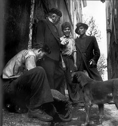 Robert Doisneau // Blaise Cendrars and gypsies in Aix-en Provence , ca.1945. Also ( http://www.gettyimages.co.uk/detail/news-photo/blaise-cendrars-and-gypsies-in-aix-en-provence-news-photo/121507733