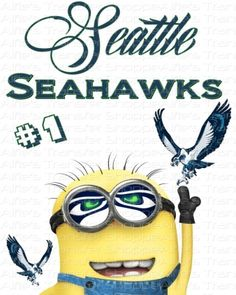 Seattle Seahawks w/ Minion - NFC West - Iron On Heat Transfer 8 x 10 NFL, Crafts :: Home Arts & Crafts :: Other Home Arts & Crafts :: Bullsz...