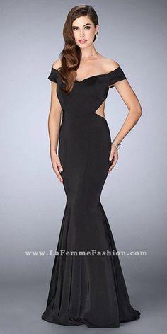 b51a917d85 Off the Shoulder Open Back Jersey Mermaid Prom Dress by La Femme
